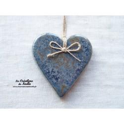 Coeur Katele bleu-gris marbré