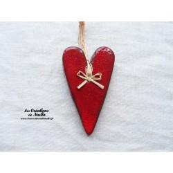 Coeur allongé rouge piment