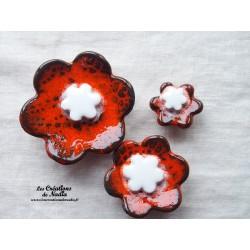 Poppies fleurs pour les jardinières, série de trois fleurs couleur orange et blanc
