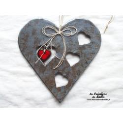 Coeur en céramique Big Charele  couleur gris métal