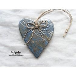 Coeur en céramique Lina couleur bleu gauloise