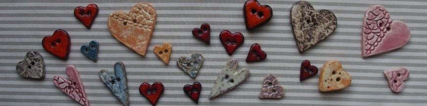 Boutons coeurs en céramique