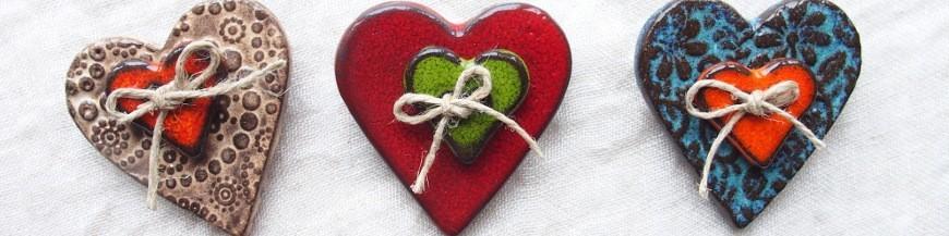 Broches coeur en céramique